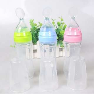 INFANT BABY KIDS SILICONE FEEDING WITH SPOON FEEDER FOOD RICE CEREAL BOTTLE