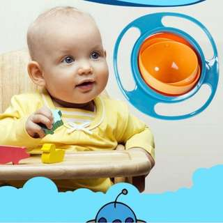 BLUE 360 DEGREES NON SPILL GYRO BOWL FEEDING LID ROTATING BOWL BABY TODDLER