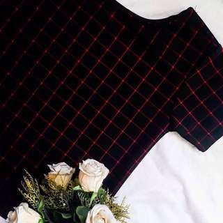 Black and Red Grid Top
