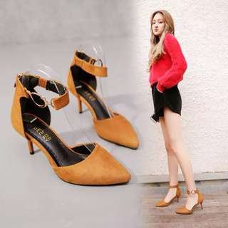 2018 spring and summer Korean pointed red high heel with a word buckle hollow Baotou shoes
