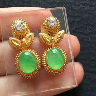 Icy green Jadeite Earring Cabochons