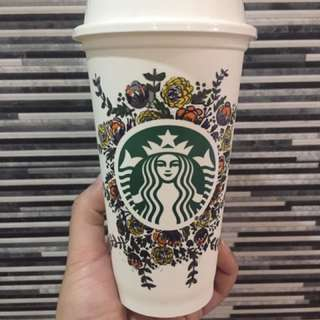 Starbucks Reusable Cup in Flowers Design
