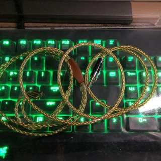 楊阳YYAUDIO銅鍍金 8絞MMCX2.5頭 平衡耳機升級線