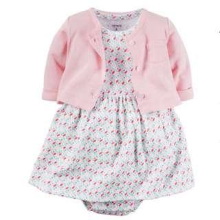 Brand New Carter's Babysoft Bodysuit Dress & Cardigan Set 9M