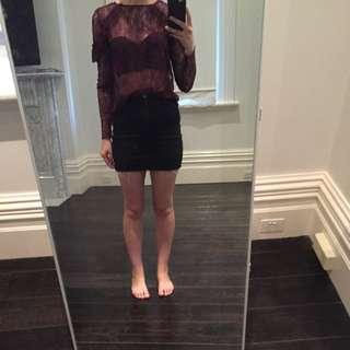 Zara Purple Lace Frills Long SLeeve Top