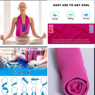 Cooling Towel 31 x 100cm , Pink and Blue