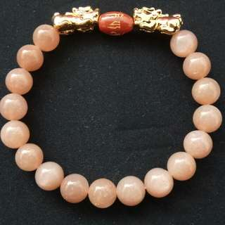 9mm Natural Sunstone Crystal with a Pair of Gold Plated Pixiu and Om Bead