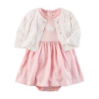 AUTHENTIC CARTER'S 2-Piece Bodysuit Dress & Cardigan Set