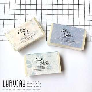 Lurveau Handmade Soap Bar 130-140g 1PCS/3PCS [Shea Butter/Goat's Milk/Olive Oil]