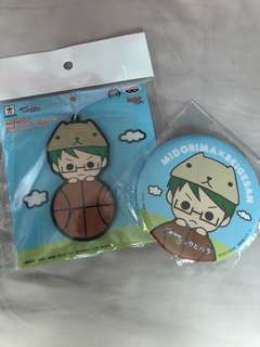 Kuroko no basket midorima x kapibara rubber strap and badge set