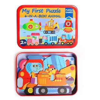 Kids Toy Early Learning Jigsaw Puzzle 6 in 1 Metal Box