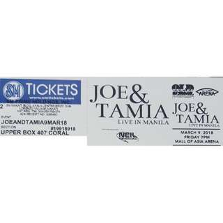 Joe & Tamia Live in Manila Concert Tickets for Sale 2 Upper Box great seats!