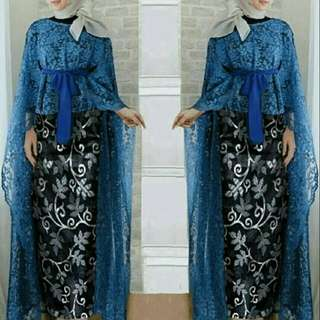 JY Set mawar BLUE @122 long outer cape brokat + obi tali pisah + rok sutra all size fit to L