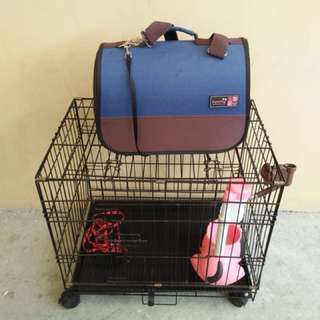 Dog cage + accessories & dog carrier
