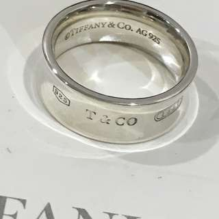 Excellent Authentic Tiffany & Co. 1837 Silver Wide Ring Size 5