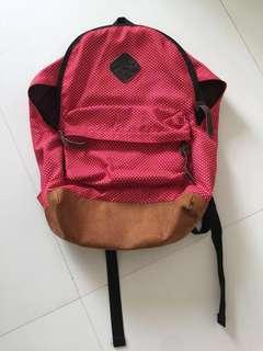 Red white brown black dots backpack bag pack school bag