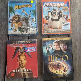 Blu ray madagascar penguins birdman hugo dvd