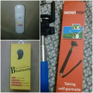 Broadband, Bluetooth Earphone and Monopod Set