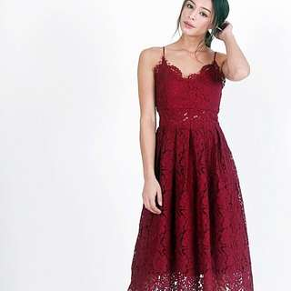 KHLOE INTRICATE LACE STRING DRESS (WINE) (S)