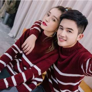 Red Strips high neck turtle neck Sweater