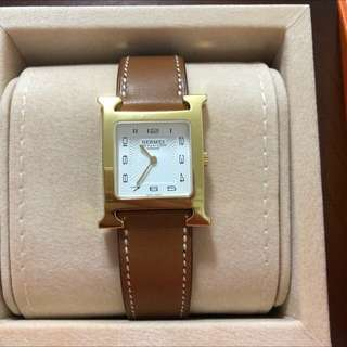 🔥BNIB hermes h watch in MM size gold