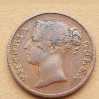 Old Strait settlement Queen Victoria 1/2 cent  coin  1862