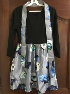 BN Black Floral Korean Style Dress