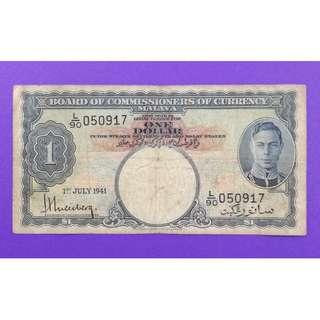 JanJun 1 Dollar King L/90 BOCOC Straits Settlement Malaya 1941 RARE