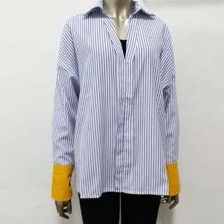🎀韓系🎀細直條條開v袖配色襯衫
