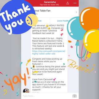 Thanks for making us your Highly Rated Carouseller!