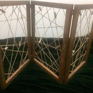 Jute Tri-fold Frame/Divider (with wood clips)