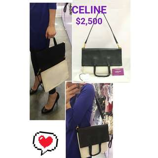 80% New CELINE Folded Cabas Two-tone 黑色 白色 肩背袋 手挽袋 手袋 Two-tone Black White Handbag