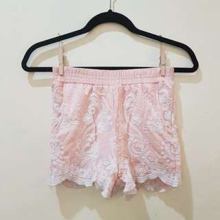 Soft coral lace shorts