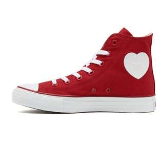 Red Converse All Star High Heart Patch