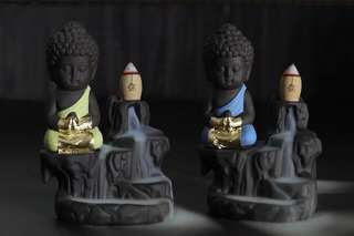 🕑 Thai Amulet - Baby Buddha Incense Burner - Gold Foiled - Lp Sanan - Thai Amulets