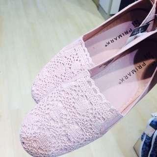 Primark Canvas Flats From London Shoes Toms 全新倫敦女裝淡粉紅色碎花帆布平底鞋 齊碼 送順豐