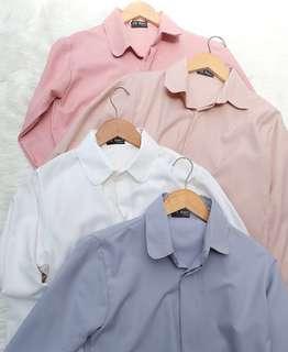 basic shirt de.thirteen warna broken white dan grey ice