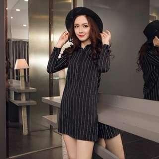 black/white striped shirtdress