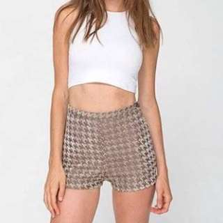American apparel AA brown houndstooth gingham shorts