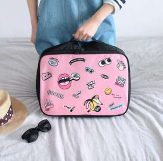 Korean Pink Portable Travel Bag in Large size