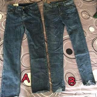全新 韓版 復古藍 刷色 合身彈性小直筒褲
