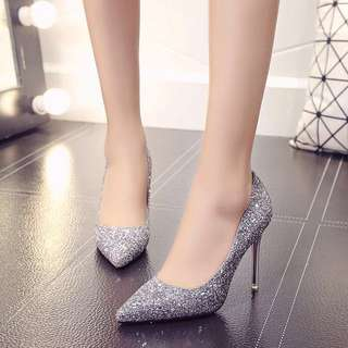 Iridescent Shimmer Shiny High Heel Shoe; woman women female girl ladies; formal event ballroom matured; sharp Tip elegant glitter; monochrome Silver Pink White