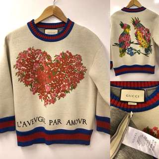 Nearly New Gucci heart and birds pattern sweater size XS
