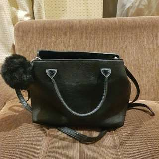 Stradivarius Black Double Strap Bag