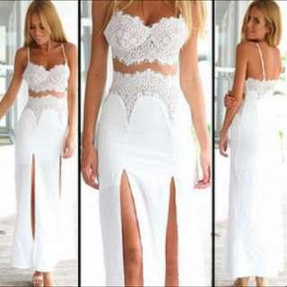 BNWT White Lace High Slit Beach Dress