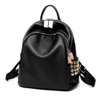 Black Rivet Gold Punk Backpack; shoulder bag pack bagpack back; Kpop Korean jpop woman female girl gf women; monochrome gold trim black; small box zips zipped; rock cool