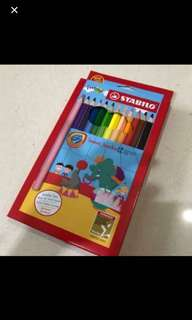 Brand New In Box Stabilo Swans Jumbo 12 Coloured Pencils