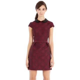 Warehouse beaded collar jacquard dress (red and black)
