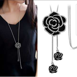 European style fashion metal simple shiny diamond roses long necklace sweater chain