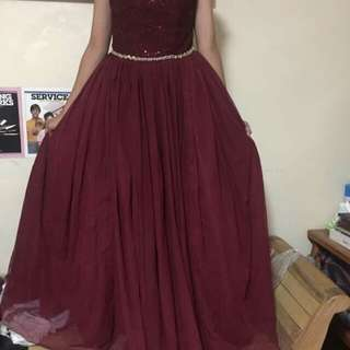 Maroon Gown For Rent